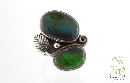 Ammolite Ring w/Leaf Sterling Silver