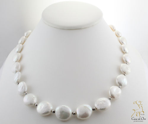 Freshwater Coin Pearls Sterling