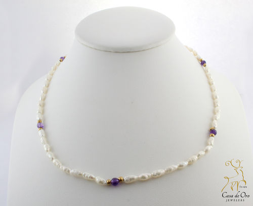 Freshwater Rice Pearl w/ Amethyst 14KY