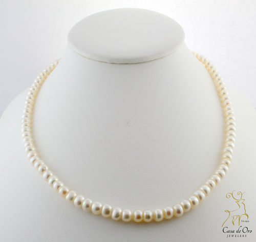 Freshwater Button Pearl Necklace 10KY