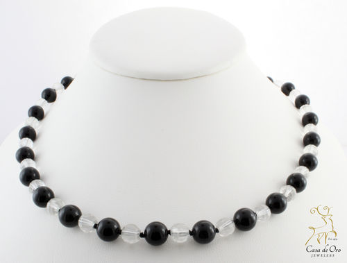 Black Onyx & Crystal Necklace