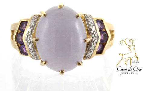 Jade, Amethyst & Diamond Ring 14KY