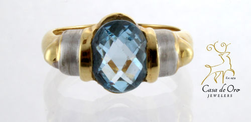 Blue Topaz Ring 14K Two Tone