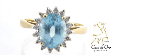 Blue Topaz & Diamond Ring 14K Yellow