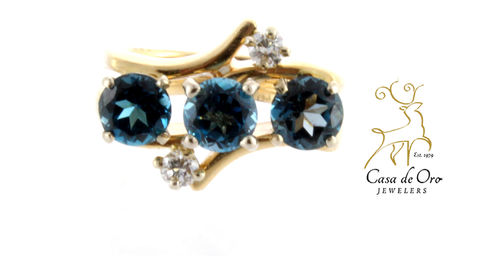 Blue Topaz & Diamond Ring 14KY