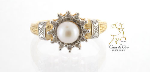 Pearl & Diamond Ring 14K Two Tone