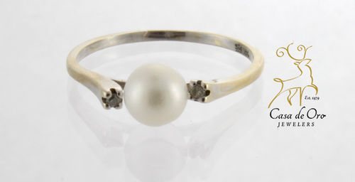 Pearl & Diamond Ring 14K White