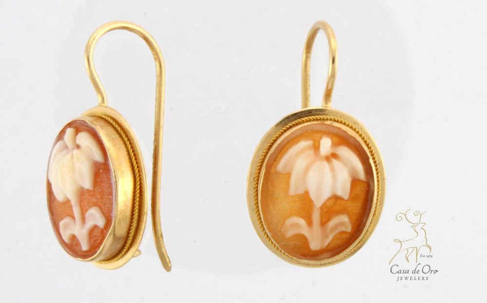 Cameo Earrings 14k Yellow