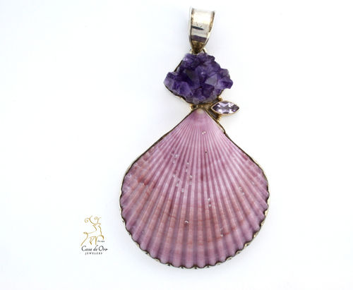 Sterling Silver Shell & Amethyst Pendant