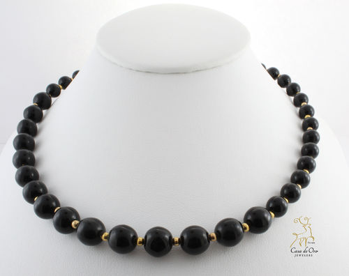 Black Onyx Necklace 14K Yellow
