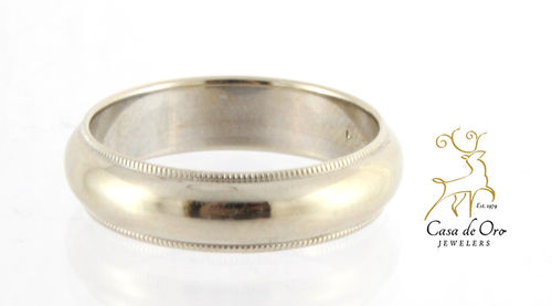 Gold Milled Edge Wedding Band 14KW
