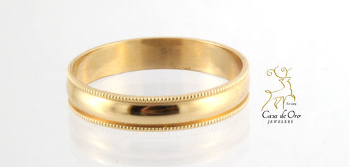 Gold Millgrain Wedding Band 14KY