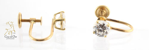 Cubic Zirconia Earrings 14K Yellow