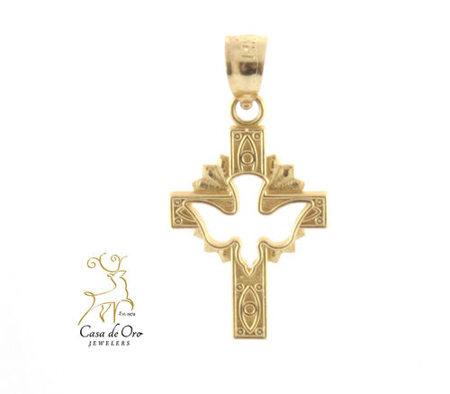 Gold Cross and Dove Pendant 14K Yellow