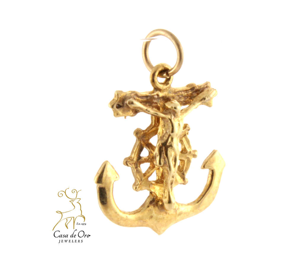 Gold Anchor Crucifix Pendant 14KY Casa de Oro Jewelers