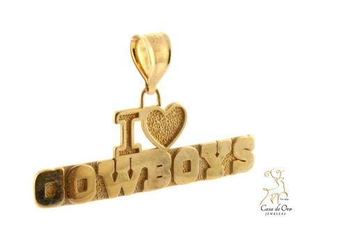 "Gold ""I Love Cowboys"" Pendant 14KY"