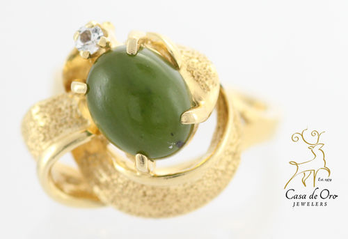 Jade & Diamond Ring 14K