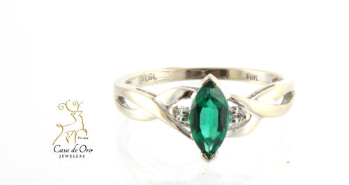 Simulated Emerald & Diamond Ring 10KW