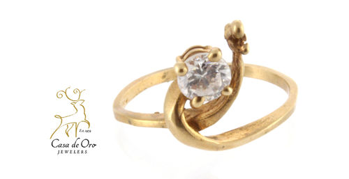 Cubic Zirconia Ring 10K Yellow