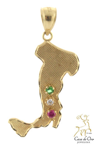 Gold Ruby, Emerald, CZ Italy Charm 14KY