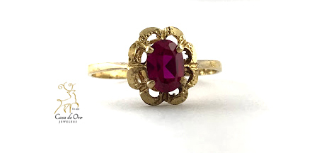 Simulated Ruby Ring 14K Yellow