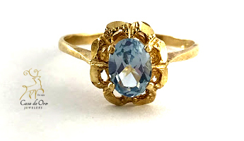 Simulated Aquamarine Ring 14K Yellow