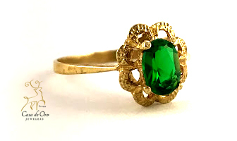 Simulated Emerald Ring 14K Yellow