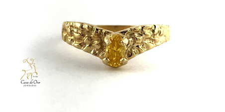 Simulated Citrine Ring 10K Yellow
