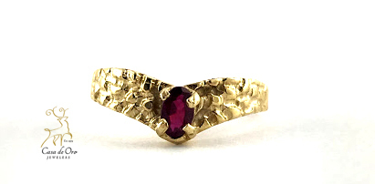 Simulated Garnet Ring 10K Yellow