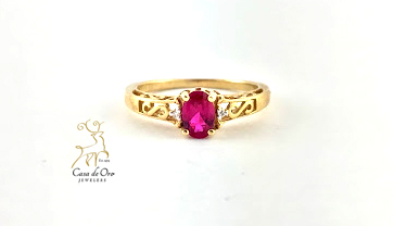 Simulated Ruby Ring 10K Yellow
