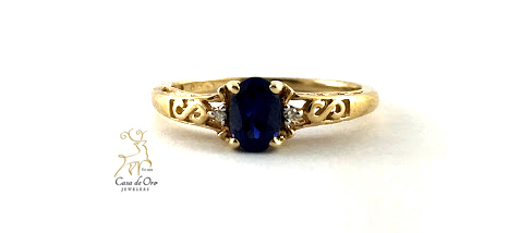 Simulated Sapphire Ring 10K Yellow