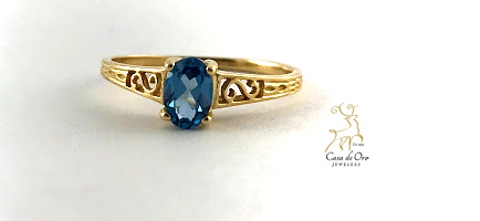 Simulated Blue Zircon Ring 14K Yellow