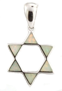Opal(Lab) Star of David Pendant Sterling