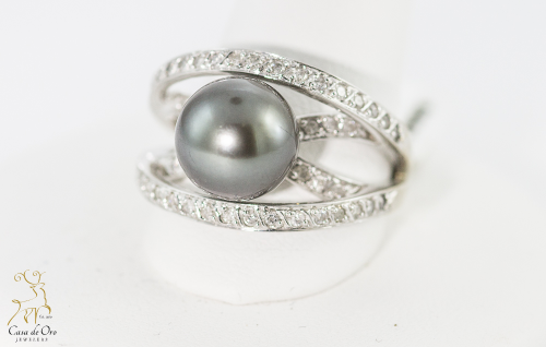Pearl Black Tahitian & Diamond Ring 14KW