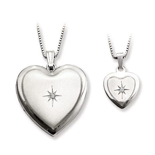 Diamond Satin Heart Locket & Pendant Set