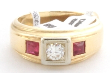 Diamond and Simulated Ruby Men's Ring 14KY