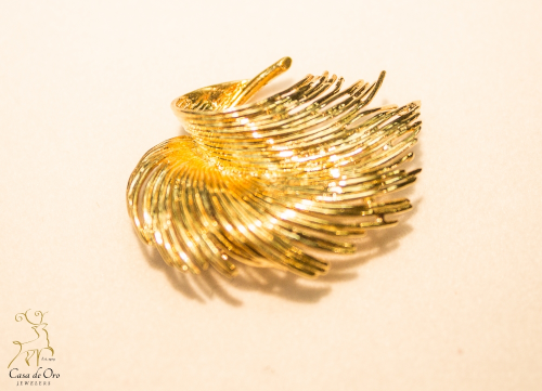 Feather Brooch 14K Yellow Gold