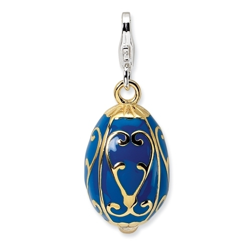 Sterling/Gold-plated Enamel Blue Egg