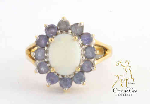 Opal & Tanzanite Ring 10K Yellow