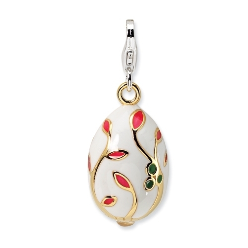 Gold-plated Enamel White Egg Charm