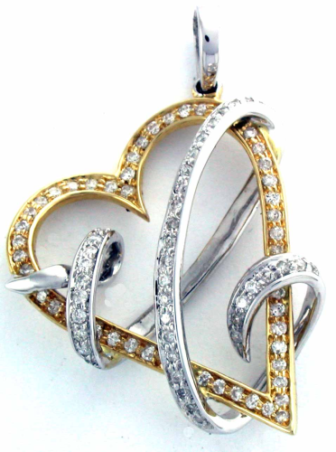 Diamond Heart Pendant 14K Two Tone