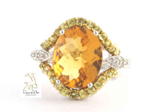 Citrine & Diamond Ring 18K White