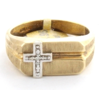 Diamond Mens Cross Ring 10K Yellow