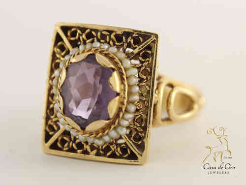 Amethyst & Seed Pearl Ring 14K Yellow