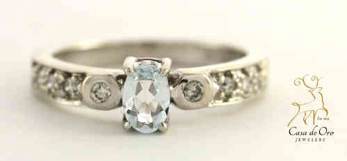 Aquamarine & Diamond Ring 14K White