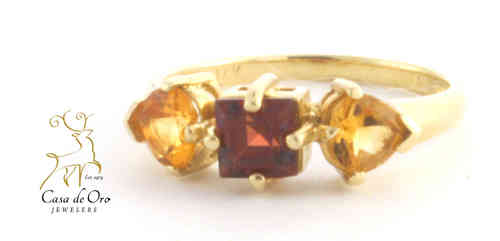 Mozambique Garnet & Citrine Ring 14KY