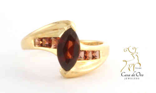 Garnet Ring 10K Yellow