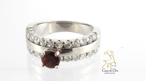 Garnet & Diamond Ring 14K White