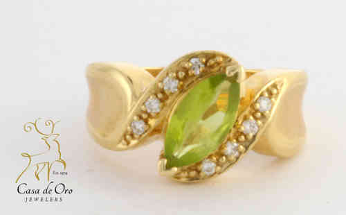 Peridot & Diamond Ring 14K Yellow