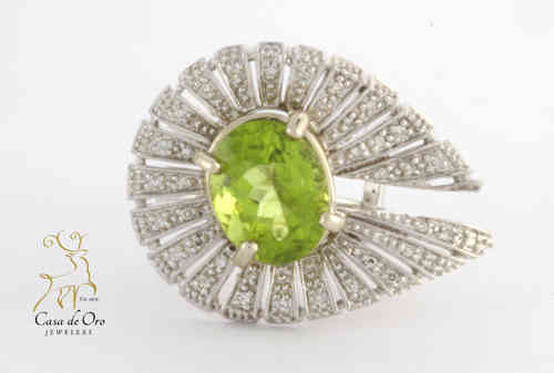 Peridot & Diamond Ring 14K White
